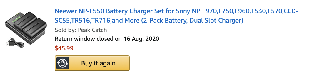 These batteries are optional, as the Neewer light comes with something that can connect to the wall directly, but it's useful if you don't have power points in the right positions in your house.